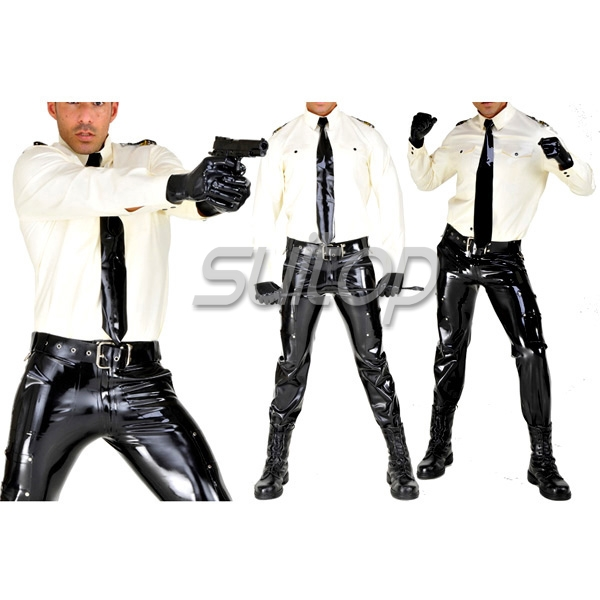 Buy Police man rubber uniforms latex costumes military sets including belt SUITOP customised zentai man cosplay sir