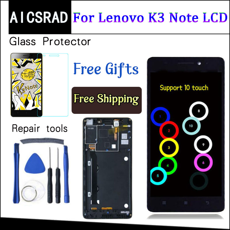 AICSRAD 5.5 Inch For Lenovo K50-T5 K3 Note LCD Display Digitizer Touch Screen Assembly Replacement With Frame Black