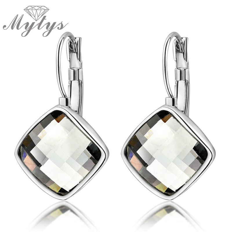Mytys High Quality Crystal Dangles studs Multi-facted Cut earrings for women White Gold Color white earing GP e768