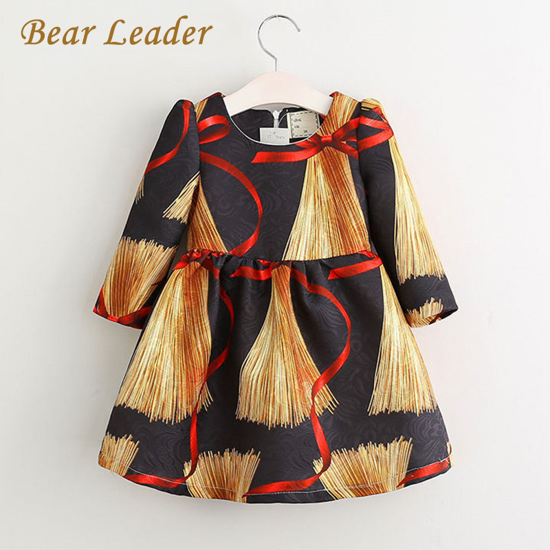 Bear Leader Girls Dress 2017 New Spring&Summer Children Clothing Full Print Design Knee-Length for Clothes Baby Dres