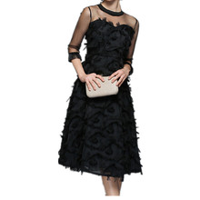 цены Spring Summer Women Evening Party Dresses Fashion Tassel Dress O-neck Black Female Elegant Dress