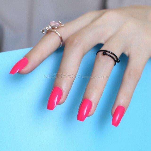 Reine Farbe New Ballerina Falsche Nägel Designs Rose Red Fashion Abdeckung  Nagel Wohnung Tipps Dekorieren Sarg Gefälschte Nagel 24 Stücke B05