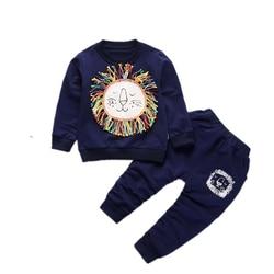 New Fashion Children Boys Girls Clothes Kids Cartoon Lion T-shirt Pants 2 Pcs Sets Toddler Tracksuits Baby Spring Autumn Suits