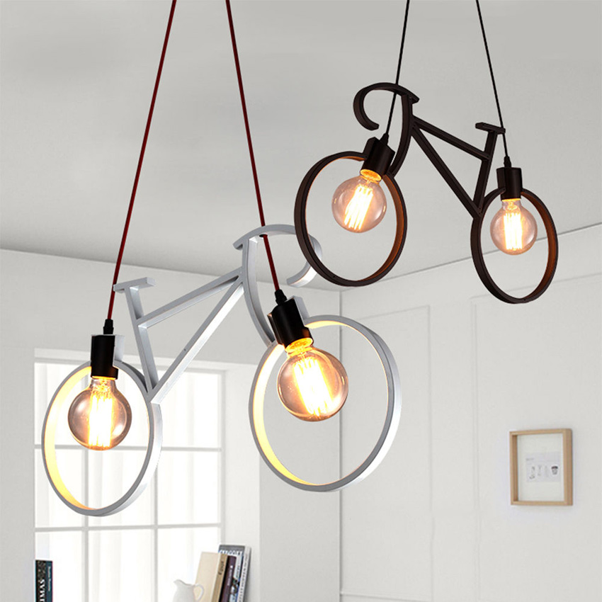 Nordic Creative Bicycle Iron Chandelier 61*37cm black white bicycle droplight Restaurant Children Room Bedroom light fixtureNordic Creative Bicycle Iron Chandelier 61*37cm black white bicycle droplight Restaurant Children Room Bedroom light fixture