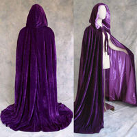 Long Purple Velvet Shawl Cloak Hooded Cloak Snow White Belle Cinderella Princess Cloak Halloween Christmas Cosplay High Quality