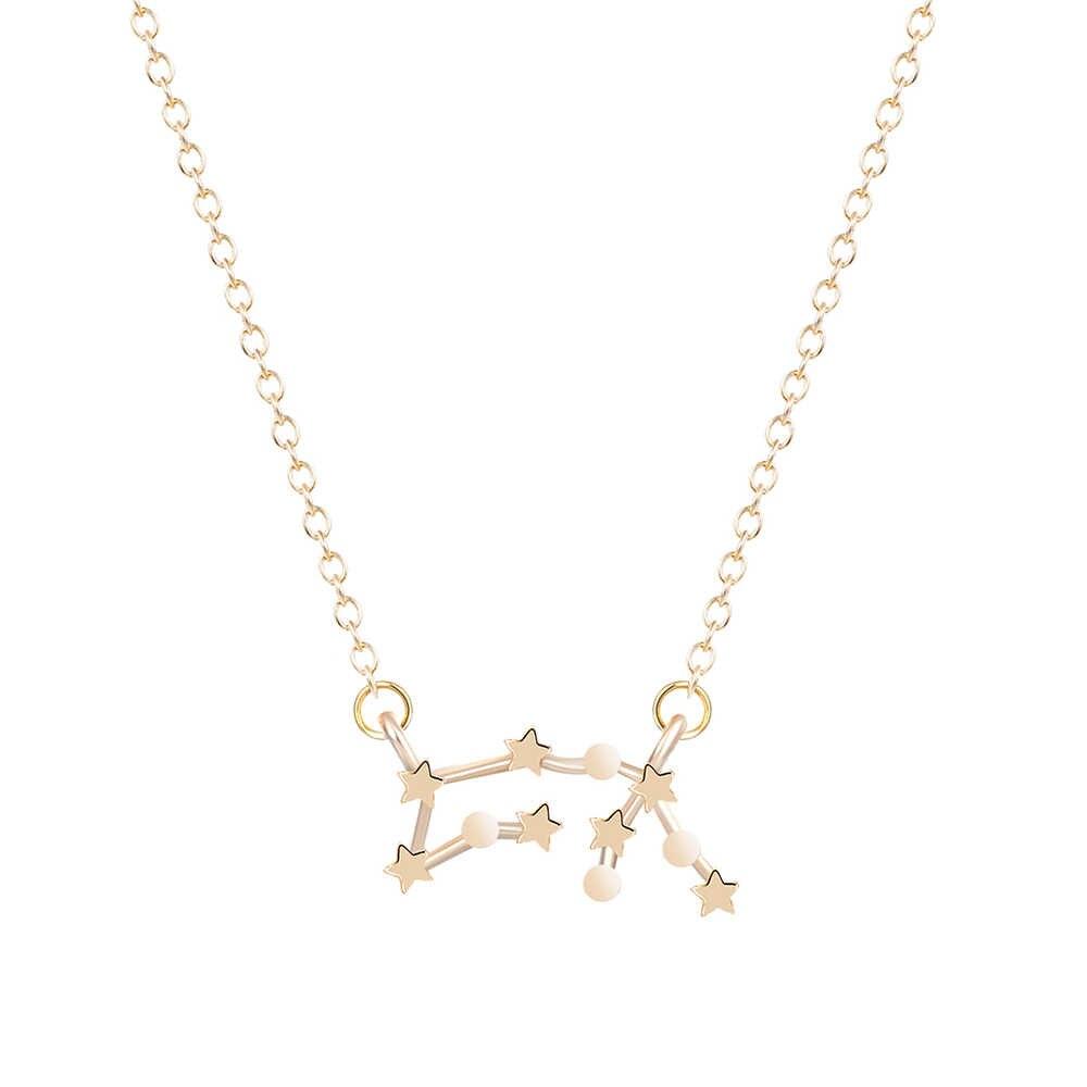 Kinitial 1 sztuk złoto srebro naszyjnik Aquarius znak zodiaku astrologia naszyjnik konstelacji naszyjnik urodziny 20/1-18/2