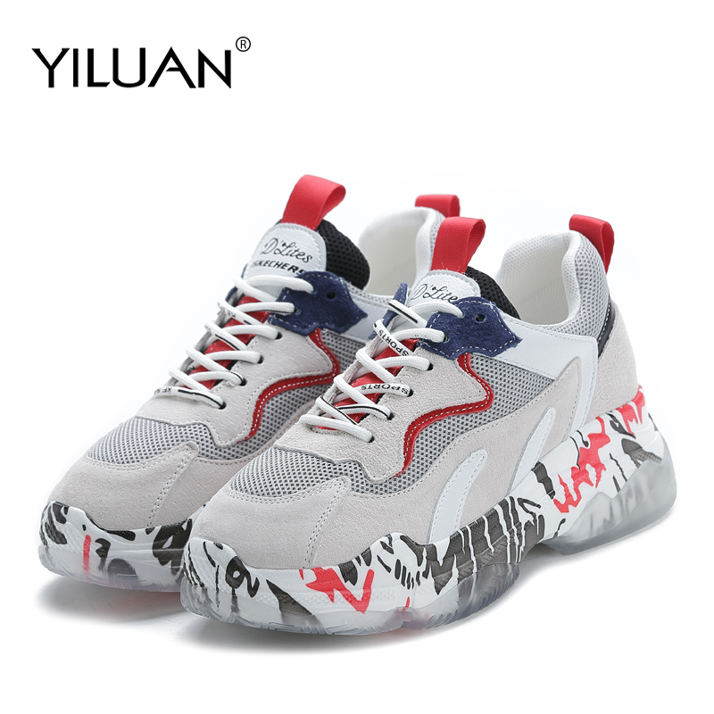 Yiluan Brand Women Sneakers Mixed Color Lace Up Women Platform Shoes 2018 Fashion Street Style Daddy Shoes Woman