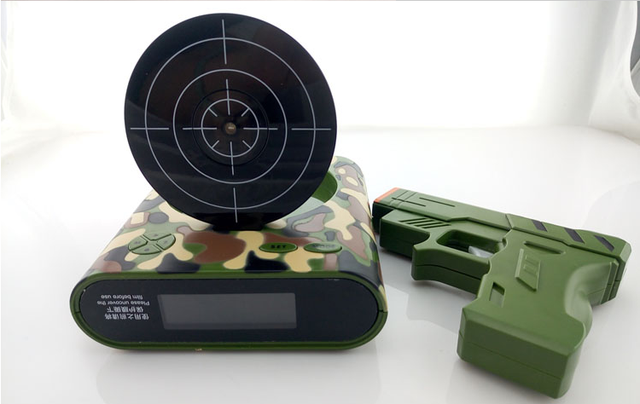 2016 new arrive boys christmas gifts cool toy camouflage gun lcd screen target alarm clock home