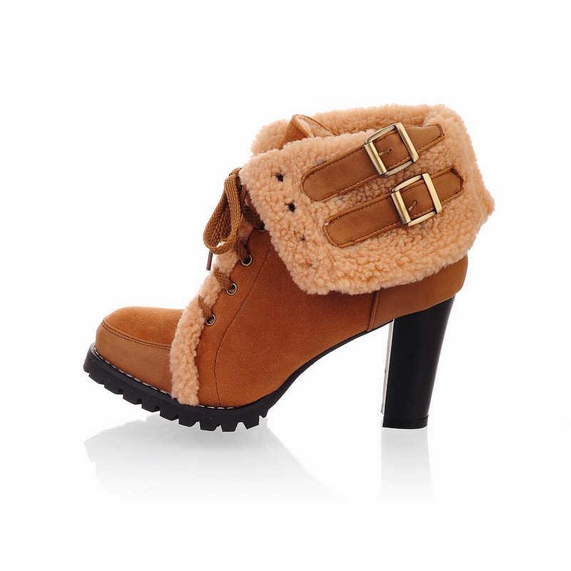 BONJOMARISA 2019 Kış Büyük Boy 32-43 Yeni Iki Stilleri Kadın Yüksek Topuklu Ayak Bileği Kar Botları Dantel-up kaymaz platform ayakkabılar Kadın