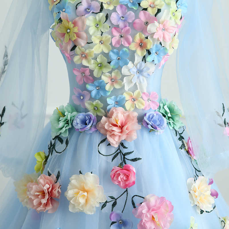 Quinceanera Jurken Mrs Win Lange Mouw Zoete Bloemen Baljurk Kant Elegante Korte Kleurrijke Prom Dress Party Formele Growns