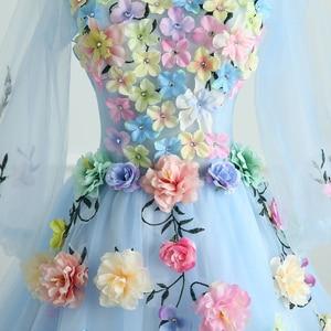 Image 5 - Quinceanera vestidos mrs win manga longa doce flores vestido de baile rendas elegante curto colorido vestido de baile festa formal crescimentos