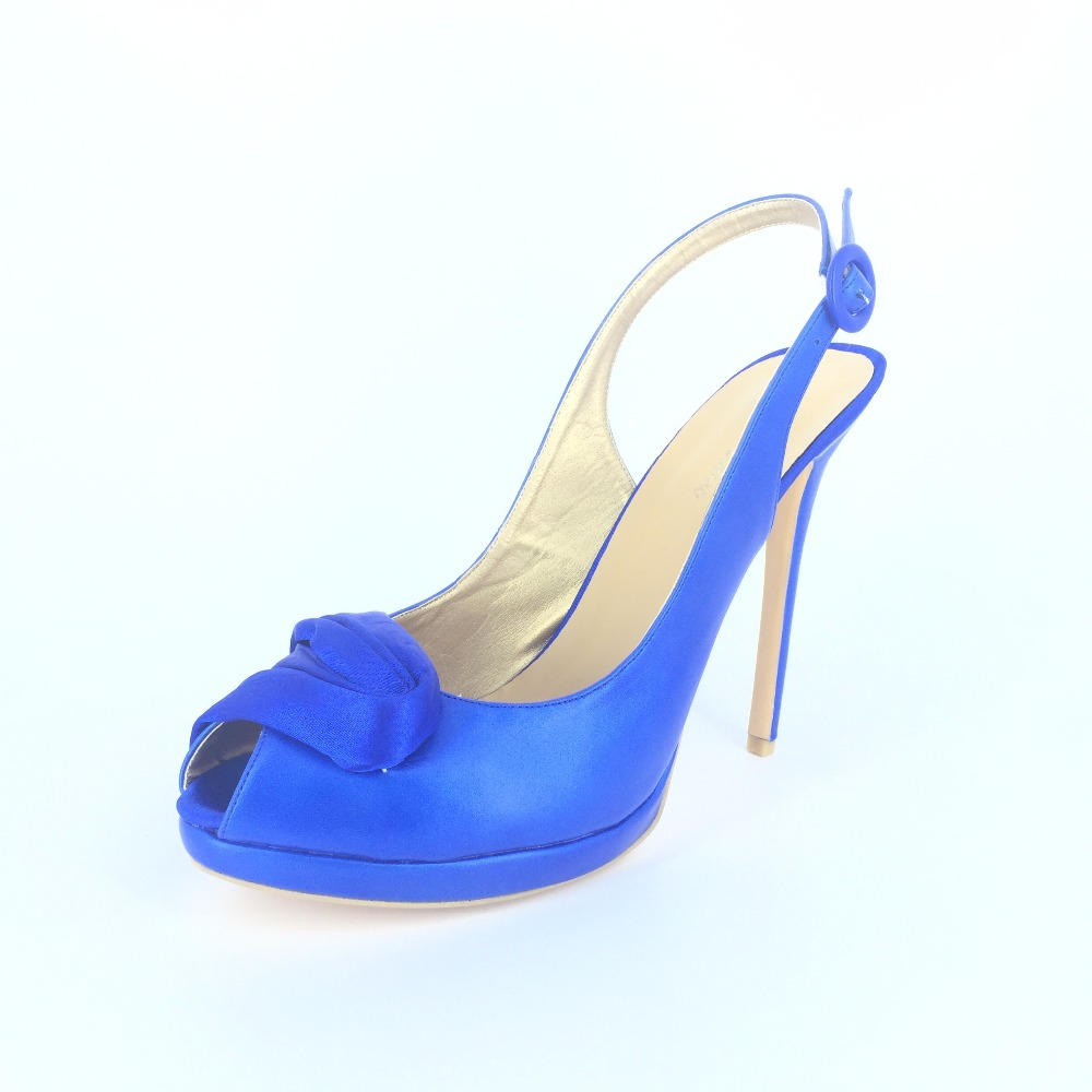 Royal Blue/White Slip-ons Open Toe Sandal For Women Thin High Heels Wedding Shoes Designer Shoes Women 2015 Made-to-order red brown tassel women sandal stilettos shoes women sandal open toe made to order plus size 14 stilettos discount dress shoe