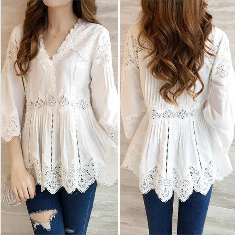 2019 verano nueva de encaje de las mujeres blusa de cuello en V hueco ver a través de la dama casual de oficina blanco camisas prendas tops