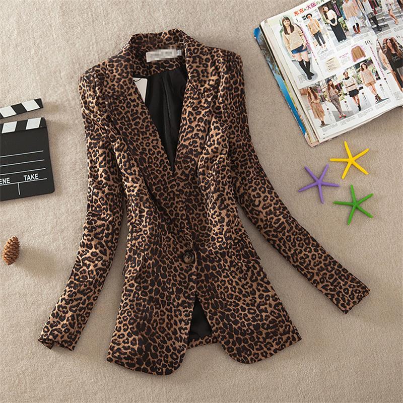 The New Fashion Vintage Jackets Women Leopard Jacket Slim Fit One Button Office Suit Jacket Coat Outwear Plus Size A943