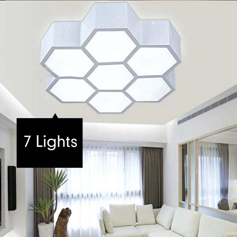 24 Watt Led Deckenleuchte Moderne Schlafzimmer Wohnzimmer Leuchten Honeycomb Eisen Acylic Lampenschirm Startseite Beleuchtung 11