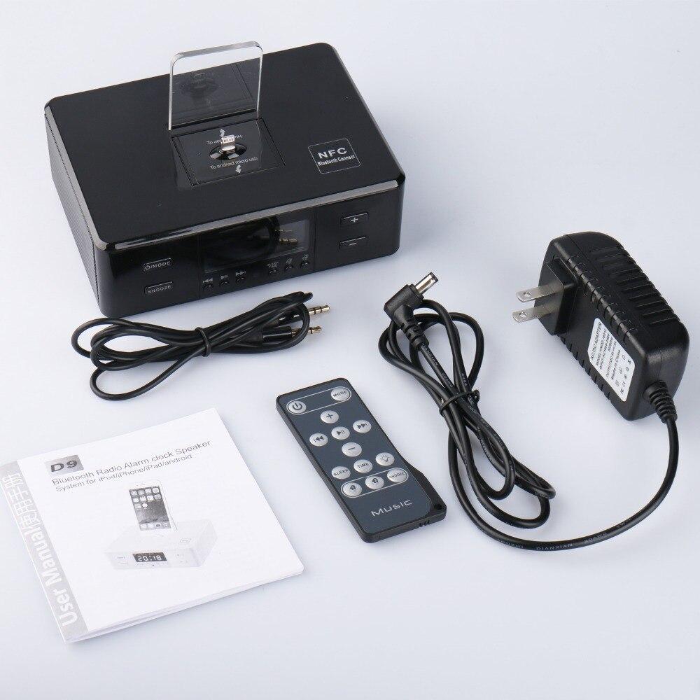 Récepteur Radio FM numérique D9 avec écran LCD support Radio multifonction haut-parleur Bluetooth AUX réveil Station de recharge