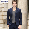 Port&Lotus Men Suit Jacket With Blind Sky Blue Pot Printing Fabric Slim Fit Formal Style Single Button Business Suit 011