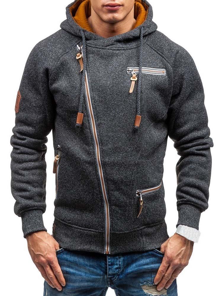 Mens Hoodies Sweatshirts Streetwear Long-Sleeve Zipper Casual Spring Solid Slim