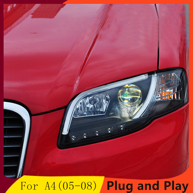 Car Styling for Audi A4 B7 Headlights 2005 2008 A4 B7 LED Headlight DRL Lens Double