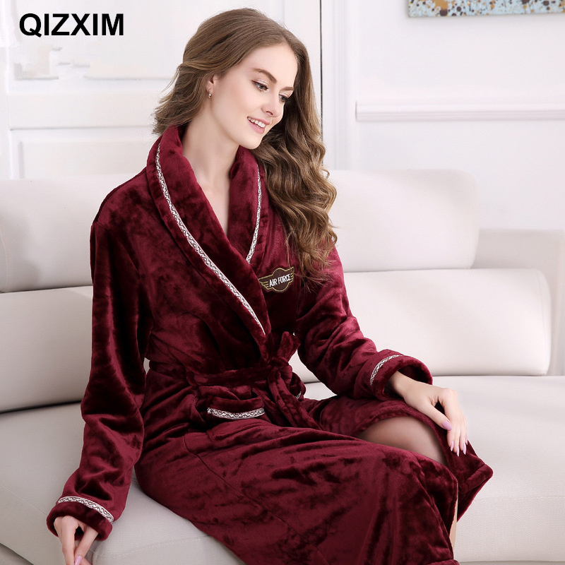 QIZXIM Fall/winter soft linen flannel robe bathrobes for men and women coral fleece intimate pajamas couples home clothing suits