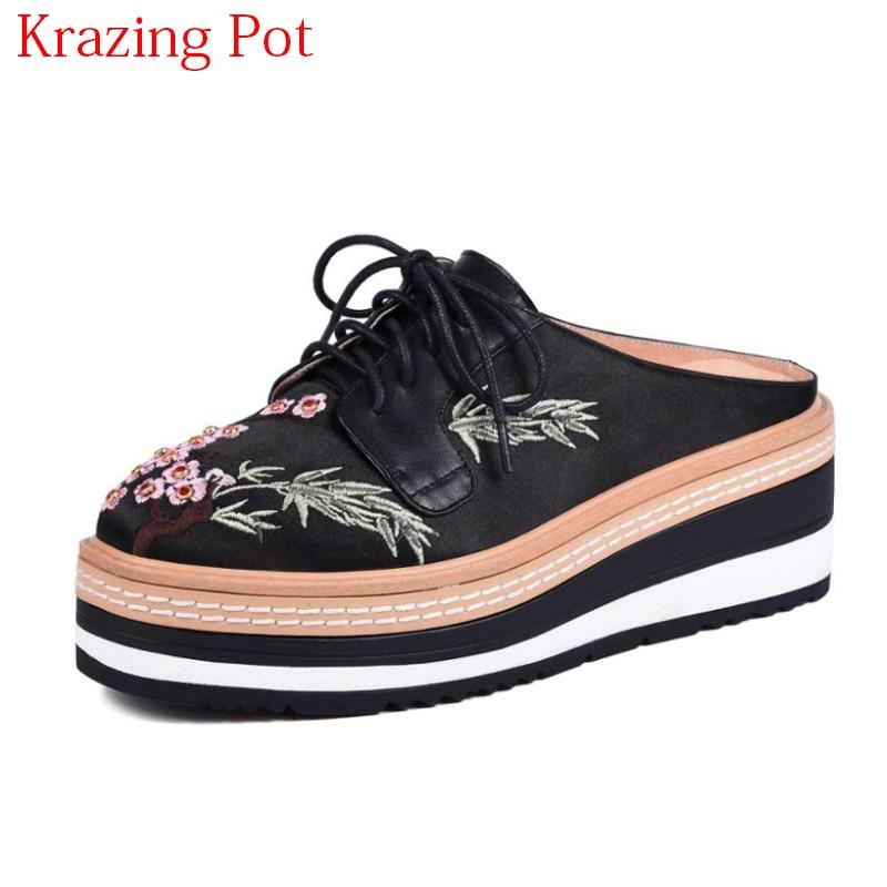 fe1d6fadac38 2019 New Arrival Vintage Brand Silk Genuine Leather Lace Up High Heels Women  Pumps Summer Platform