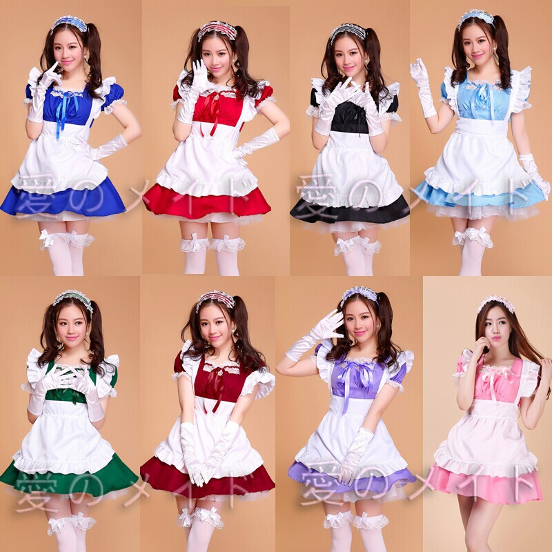 Free Shipping Lolita Princess Maid Dress Fancy Apron Dress Maid Outfits Meidofuku Uniform Cosplay Costume S-XXL Without gloves