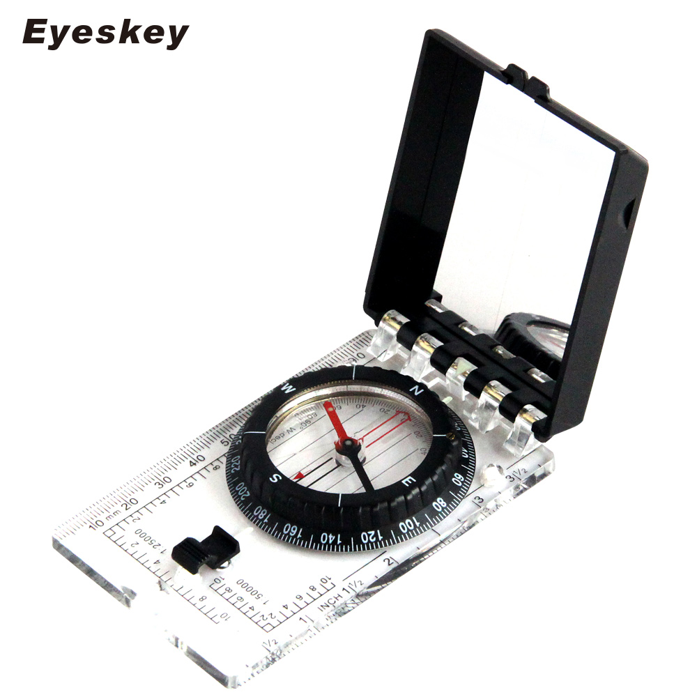 Eyeskey Multifunctional Compass With Ruler Compact Handheld Outdoor Camping Equipment Lanyard Mirror For Camping And Hiking