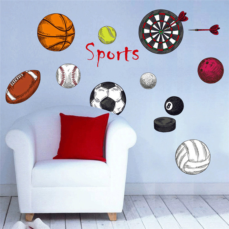 Us 3 06 34 Off Sports Diy Pvc Plane Wall Stickers Home Decor Art Decals Football Basketball Tennis Wallpaper Decoration For Kids Rooms 70 50cm In