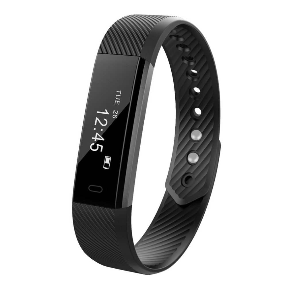 Utendørs ID115 Armbånd Fitness Tracker Passometer Sleep Monitor Spor Smart Band Watch Vekkerklokke Step Counter Fitness