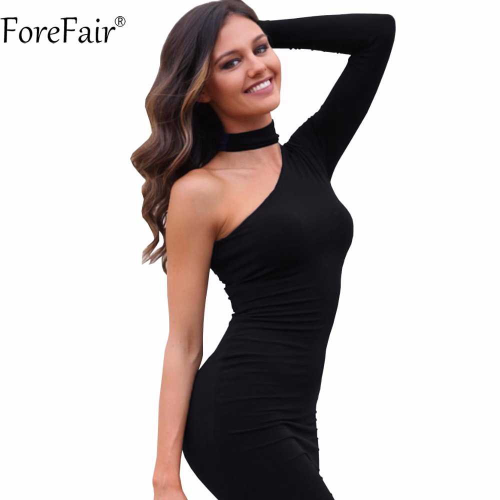 ForeFair 2016 winter autumn sexy one shoulder irregular club party dresses fitted halter pencil bodycon dress women plus size
