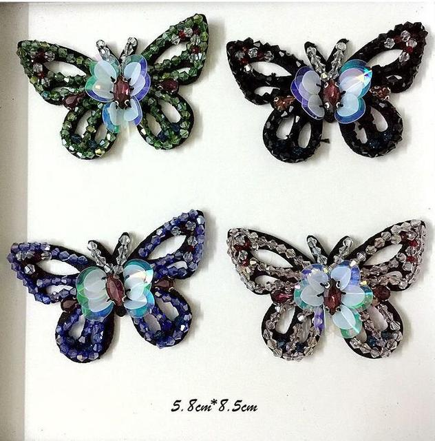 Sequined butterfly Patch for Clothes Sewing on Rhinestone Beaded Applique  for Jackets Jeans Bags Shoes Beading 79985c654cf3