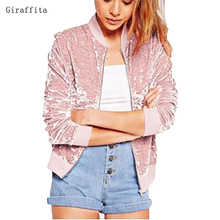 2017 Giraffita font b Women b font Gold Velvet font b Jacket b font Long Sleeve