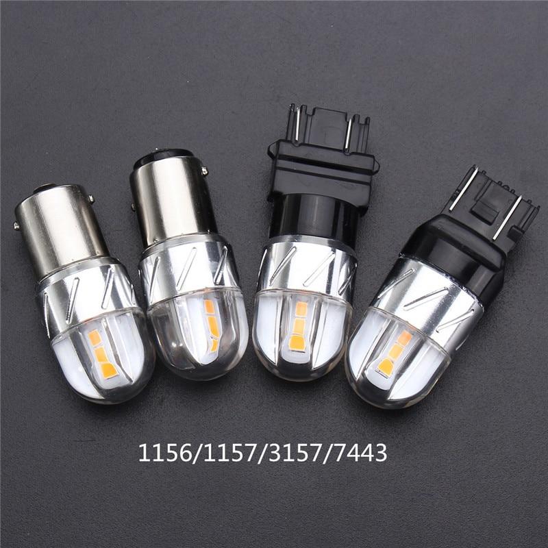 2pcs Amber 12V Car Lights 1156 1157 7443 3157 3030 SMD LED Auto Reverse Light Turn Signal Brake Backup Lamp Bulb 18W