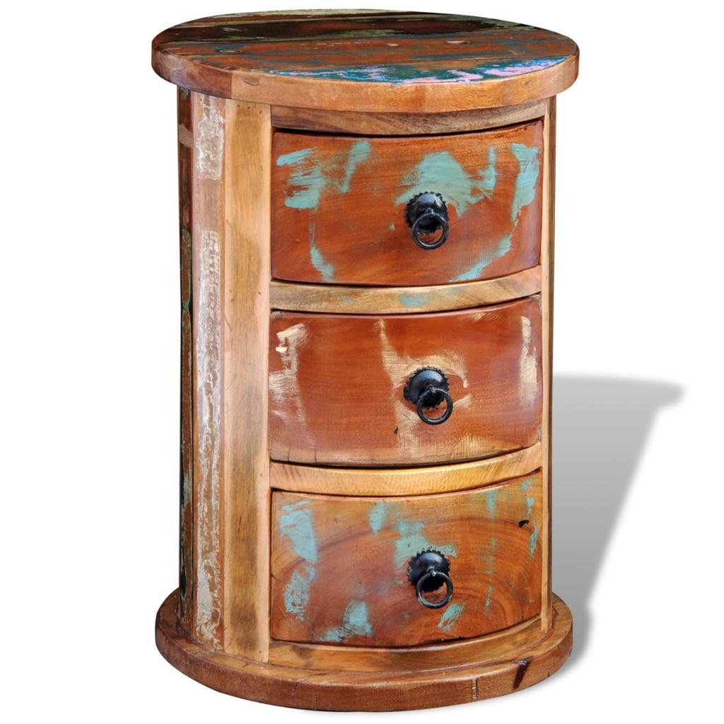 redonda de madera maciza cajonera reciclado con cajones del gabinete para el hogar nave de