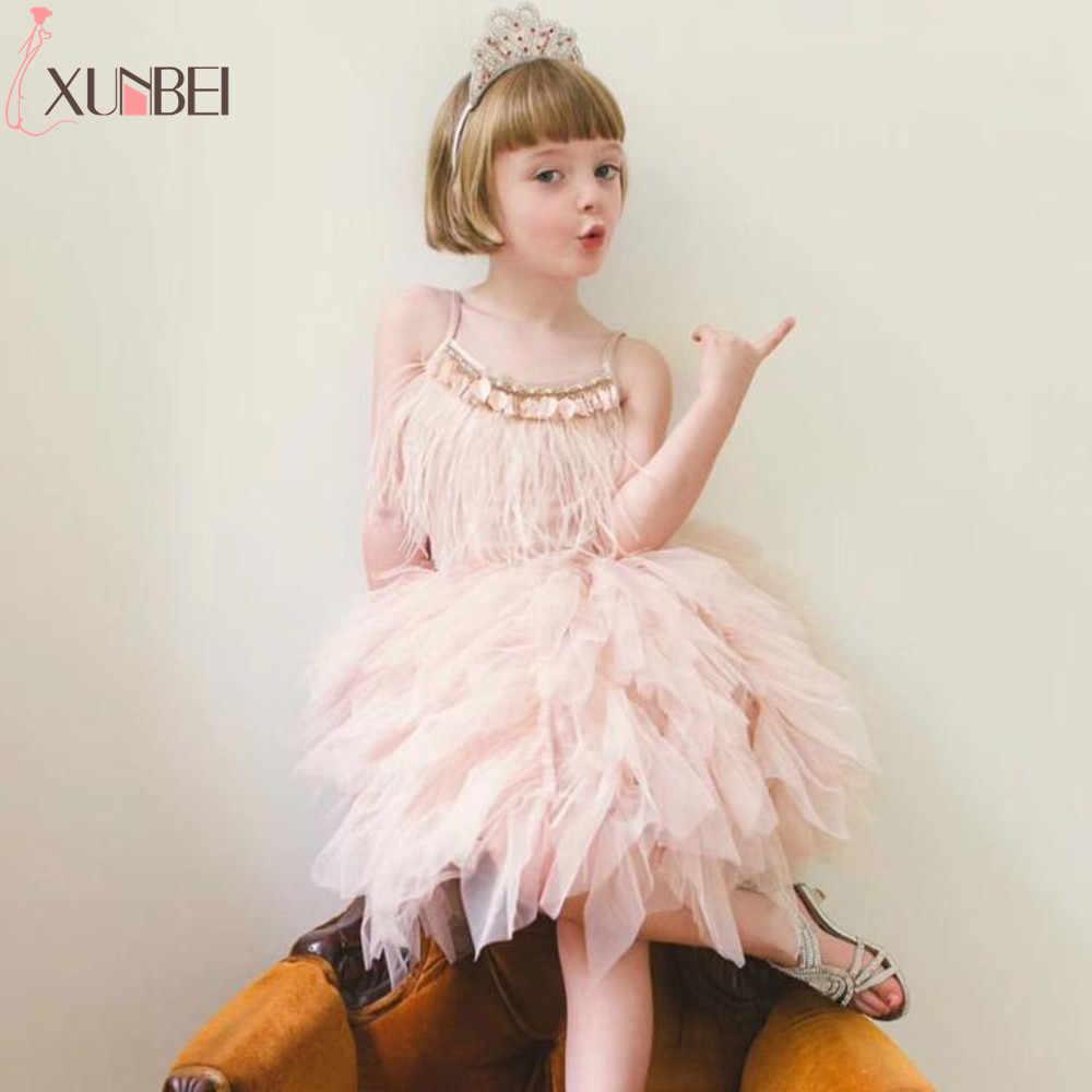 Irreguarly/фатиновые Платья с цветочным узором для девочек; коллекция 2019 года; нарядные платья для девочек с перьями из страз; платья для первого причастия; Детские платья для выпускного вечера