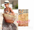 European and American manufacturers style color gradient Sequin fringe single shoulder bag woven straw bags wholesale beach bag