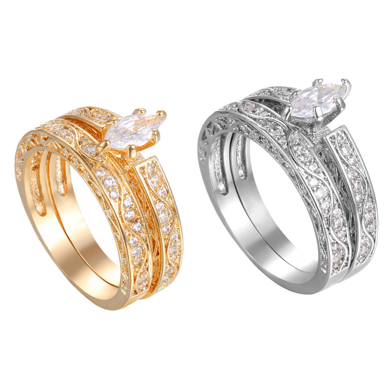 2017 New Popular Wedding Double Rings For Women Trendy
