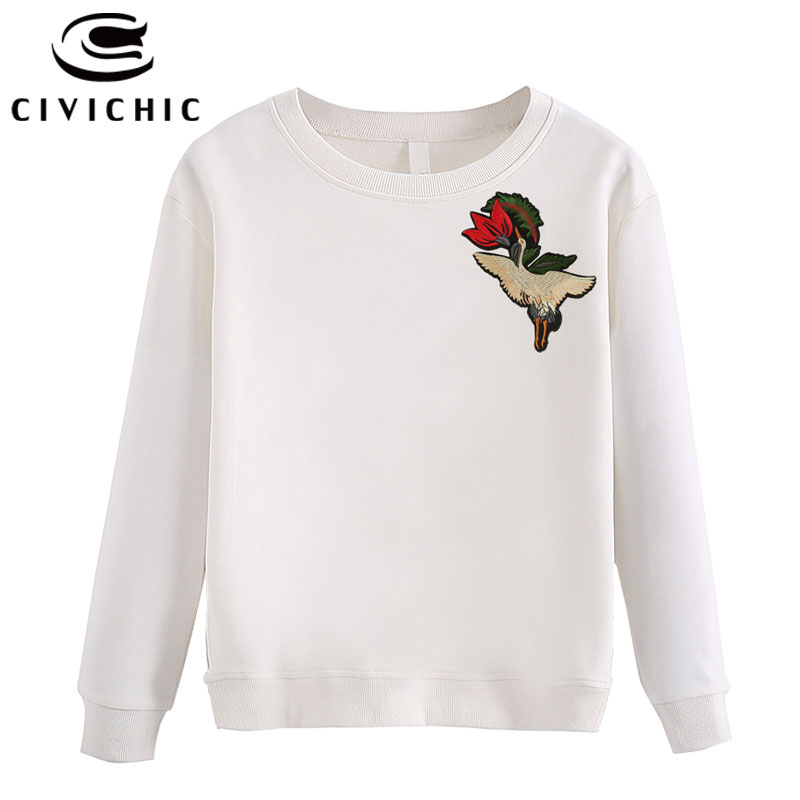 CIVICHIC Stylish Woman Embroidery Top Tees Harajuku O Neck Cotton T shirt Retro Floral Sweat Shirt Oodji Bts Pullover Wear WLT35