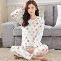 Outono E Inverno Coral Espessamento Para Baixo Longo Mulheres Conjuntos de Pijama de Flanela Quente Roupas Casa Servir Encantador Dos Desenhos Animados do Terno Por Atacado