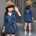Retail 2015 Next New Summer Style Spring And Autumn Children Jackets Floral Print Denim Baby Girl Coat Casual Girls Jacket 4-14T