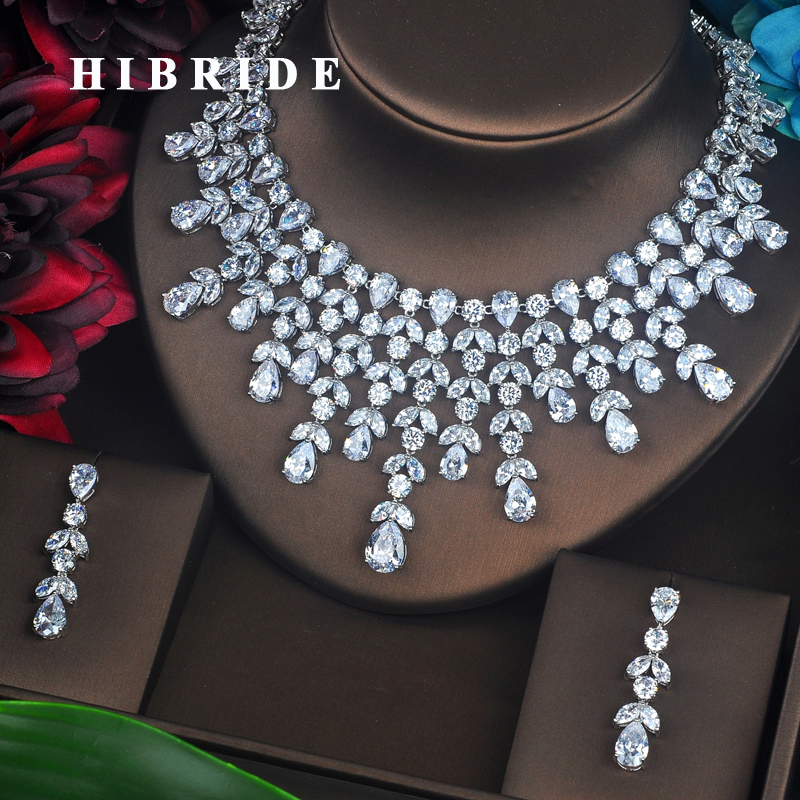 HIBRIDE Luxury Many Water Drop Shape AAA CZ Pave Jewelry Sets For Women Necklace Set Wedding Dress Accessories Party Gifts N-498 hibride luxury new butterfly shape earring necklace jewelry set women party jewelry small link pendant brincos bijoux n 643