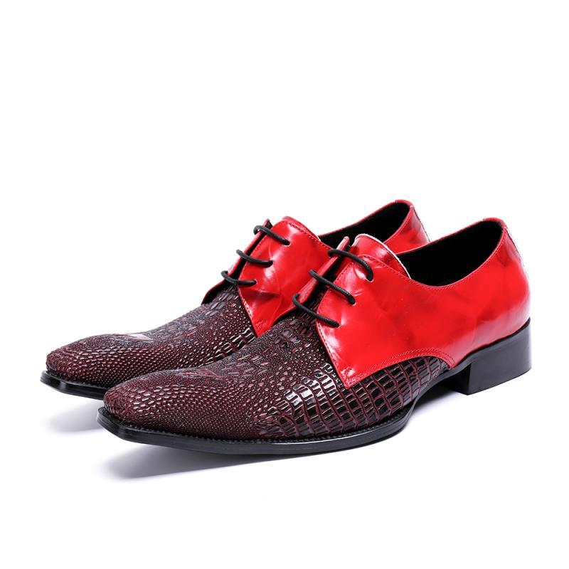 À lacets Bout Carré Hommes Chaussures En Cuir Véritable Boucle Affaires Formelles Oxford Chaussures Zapatos Hombre De Bal De Mariage Chaussures Hommes Appartements - 3