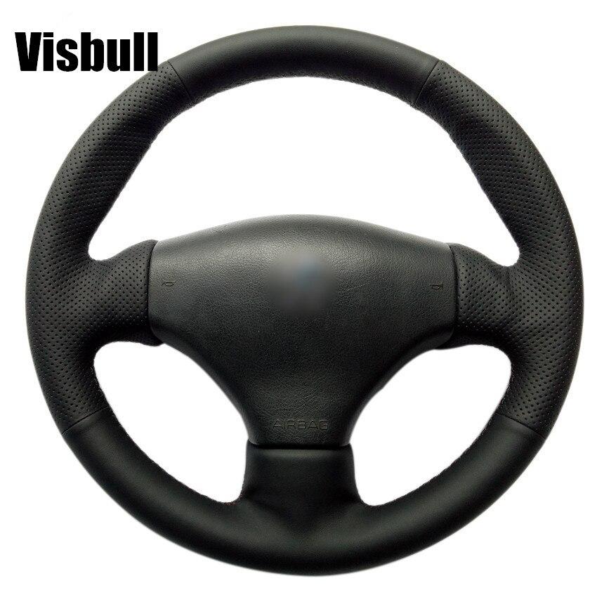 Visbull PU Leather Car Steering Wheel Cover V1048 for Peugeot 206 2003 206 CC 2005