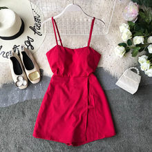 NiceMix 2019 Summer Women shorts Chiffon rompers Sleeveless Boho Style Short Beach jumpsuit Sundress Casual Shift red Vesti(China)
