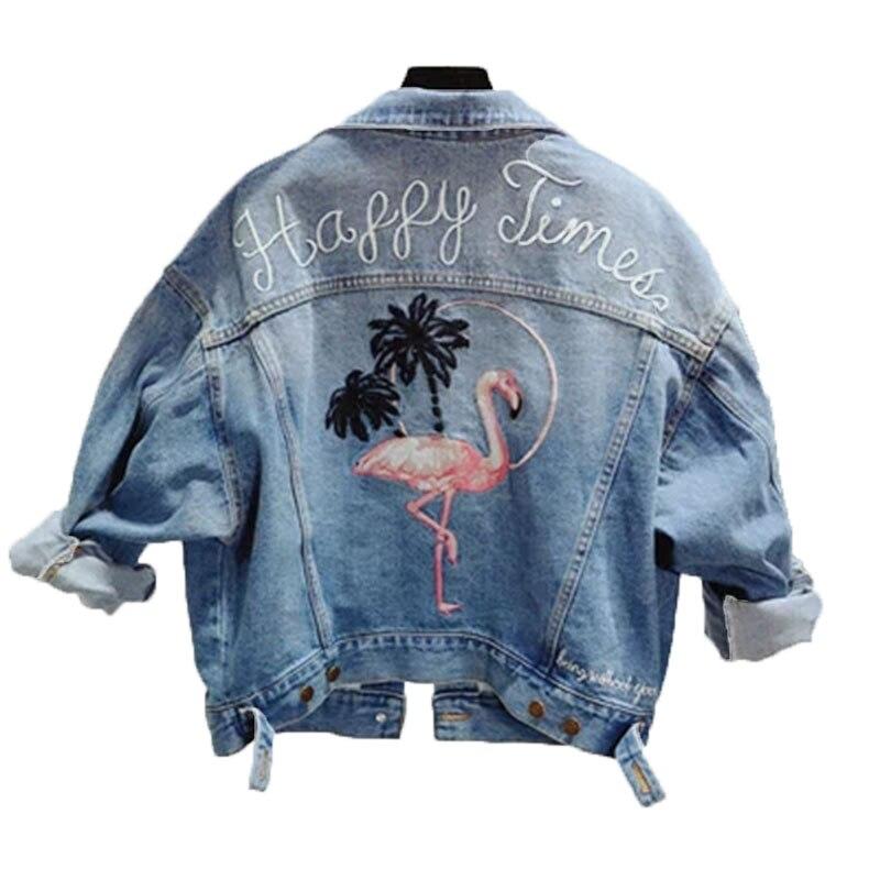 Printemps et automne industrie lourde brodé Flamingo lavage revers dame Denim veste lâche mince mode dame Jeans W73