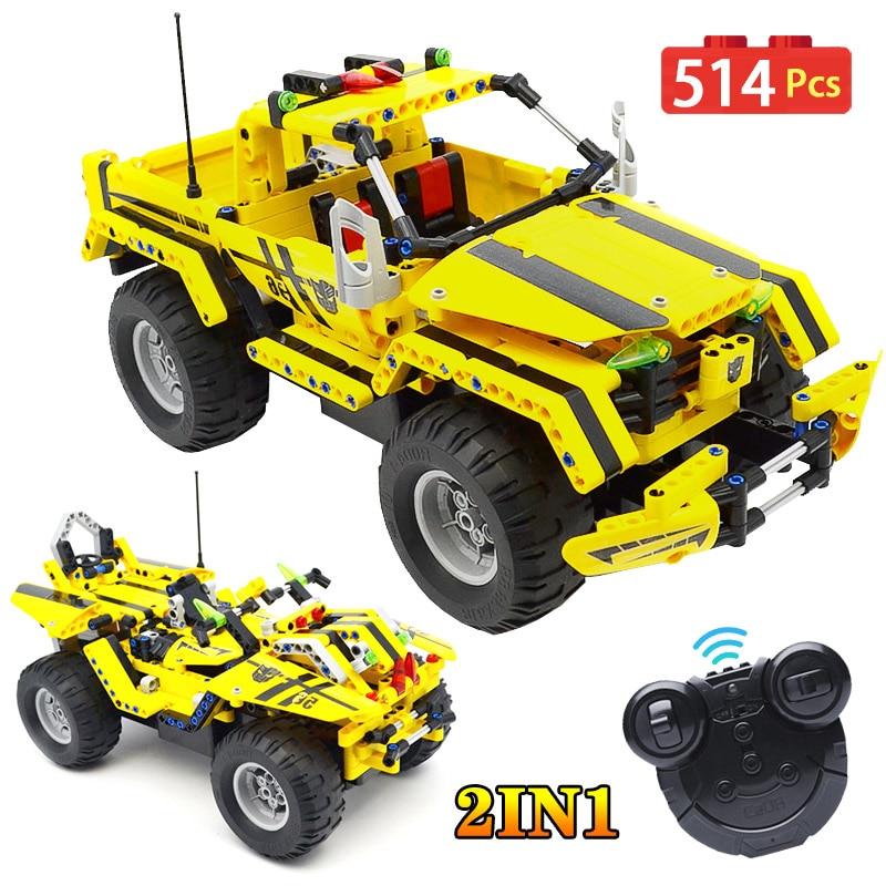 Camion de ramassage télécommandé électrique 2.4G avec soin Technic City 2 en 1 Transformable course RC jeu de blocs de construction de voiture jouets pour garçons