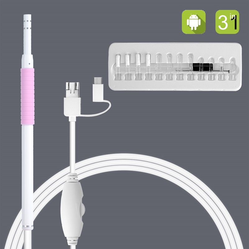 AN102 3 In 1 Ear Cleaner Otoscope 2m Cable Visual Ear Picker 5.5mm Endoscope Camera 480p Visual Otoscope Medical Ear Pick