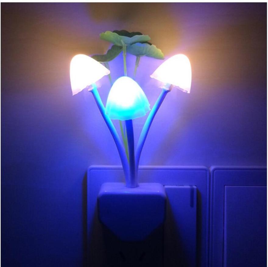 Eu Us Plug Led Lamp Romantic Mushroom Lotus Leaf Night