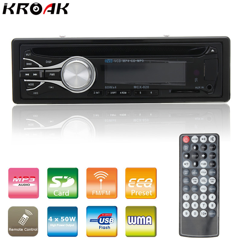 Single Din Car Stereo Audio 12V Bluetooth V2.0 In-dash FM Receiver Aux Input Receiver USB MP3 Car Radio CD DVD Player 1din car headunit fix panel car stereo car cd dvd player 1din usb sd fm aux in car radio player mp3 single din detachable panel