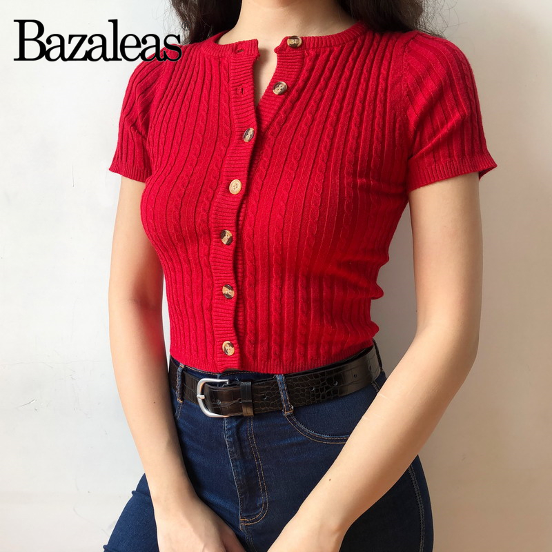f1f565f5b32ad Bazaleas 2018 Pink Hollow Out Women Cardigan Vintage Center Buttons ...